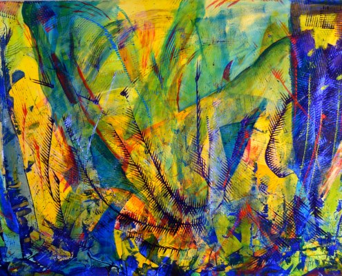 SOLD Abstract Painting - Underwater Ocean Particles by Nestor Toro