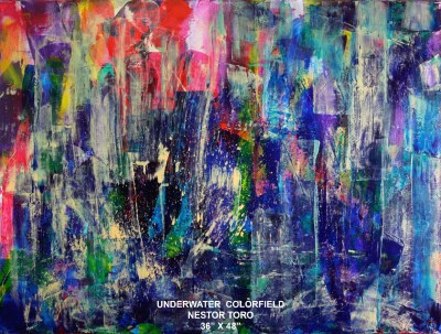 SOLD - Underwater Colorfield by Nestor Toro