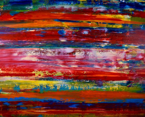 SOLD - Volcanic Terrain (Fiery layers) (2016) Mixed Media painting by Los Angeles artist Nestor Toro