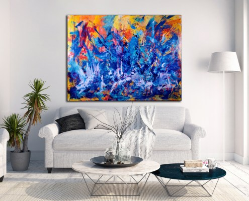 The Faces of Blue - HUGE STATEMENT PIECE! (2016) Acrylic painting by Nestor Toro