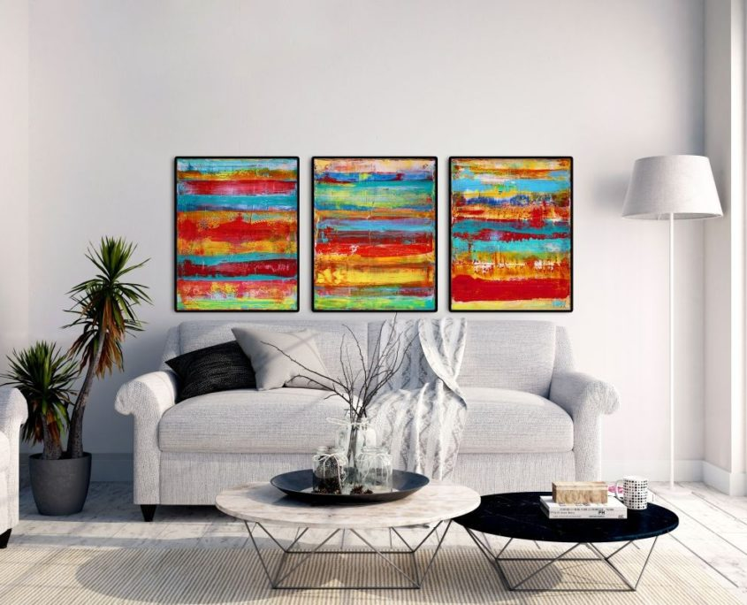 SOLD - INFINITY - TRIPTYCH WORK by abstract painter Nestor Toro in Los Angeles 2017