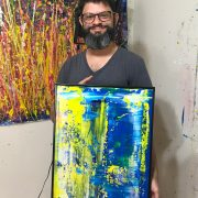 Los Angeles abstract artist Painter Nestor Toro with sold artwork