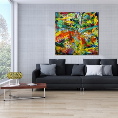 "Cascada sonica "" Sonic waterfall"" (2014) Mixed Media painting by Nestor Toro"