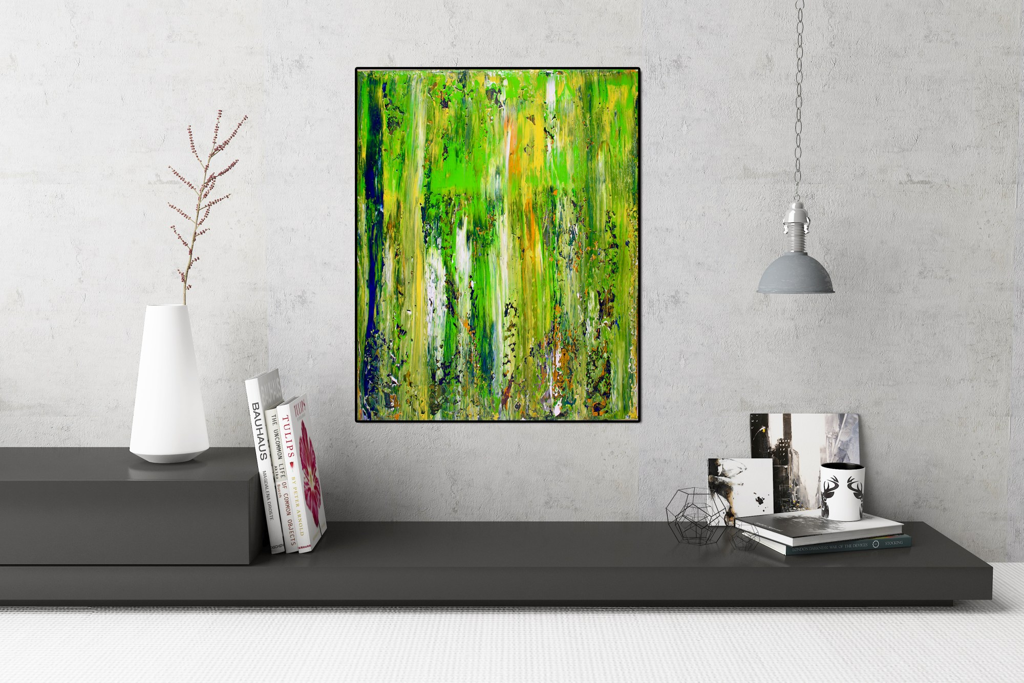 Abstract Terrain (Moss) - FRAMED + SIGNED (2015) Mixed Media painting by Nestor Toro in Los Angeles