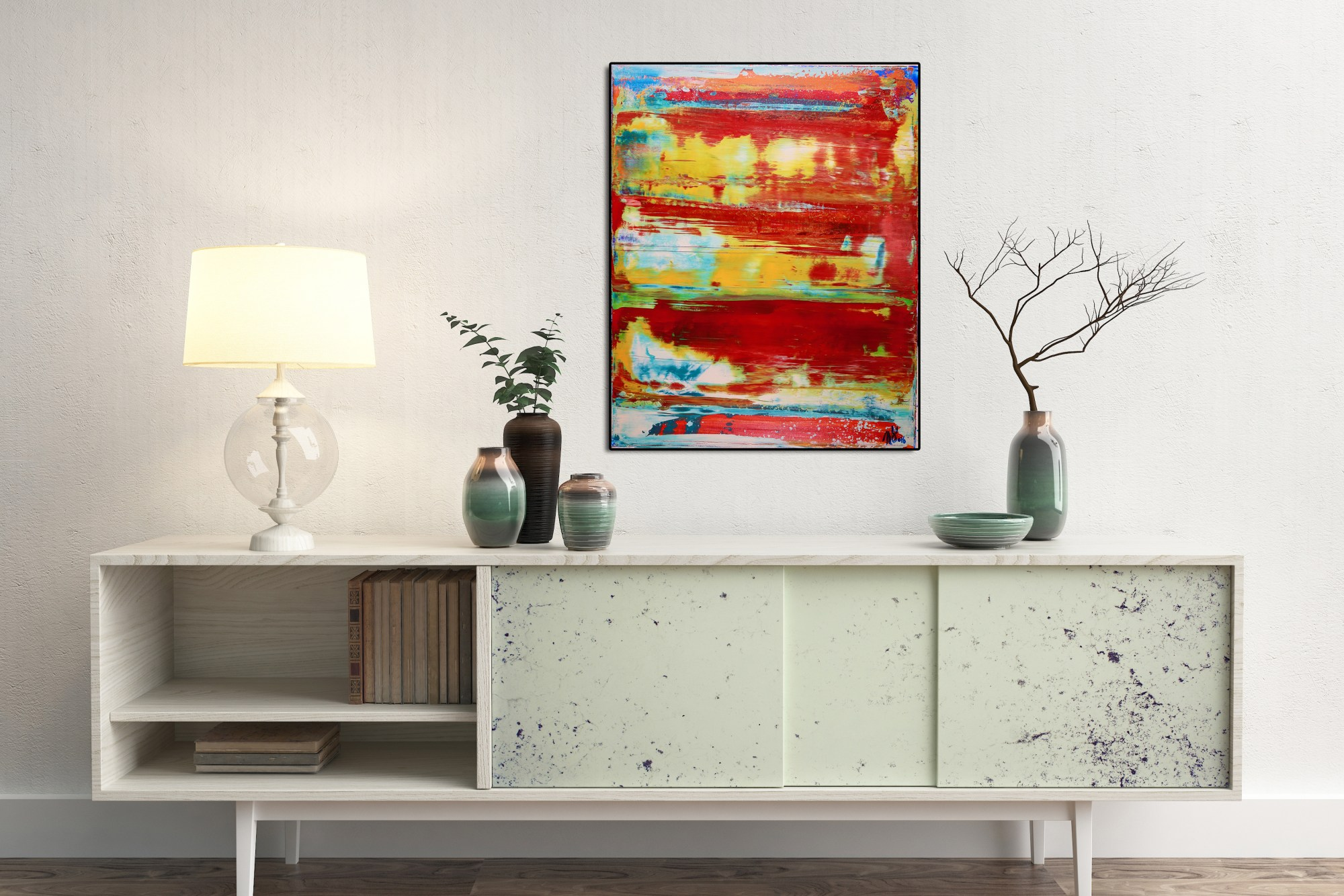 Abstract Colorfield-A Sunny Day (2017) Mixed Media painting by Nestor Toro