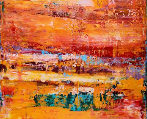 SOLD - Fragmented Panorama (2017) Acrylic painting by Nestor Toro in Los Angeles