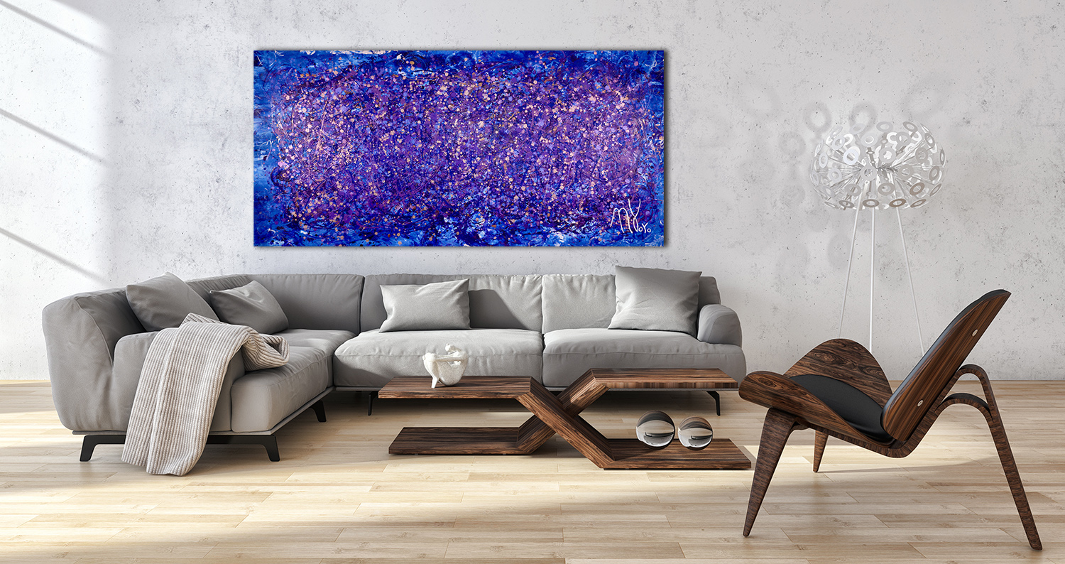 SOLD - Purple Abstract 1 (2017) Mixed Media painting by Nestor Toro - Sold
