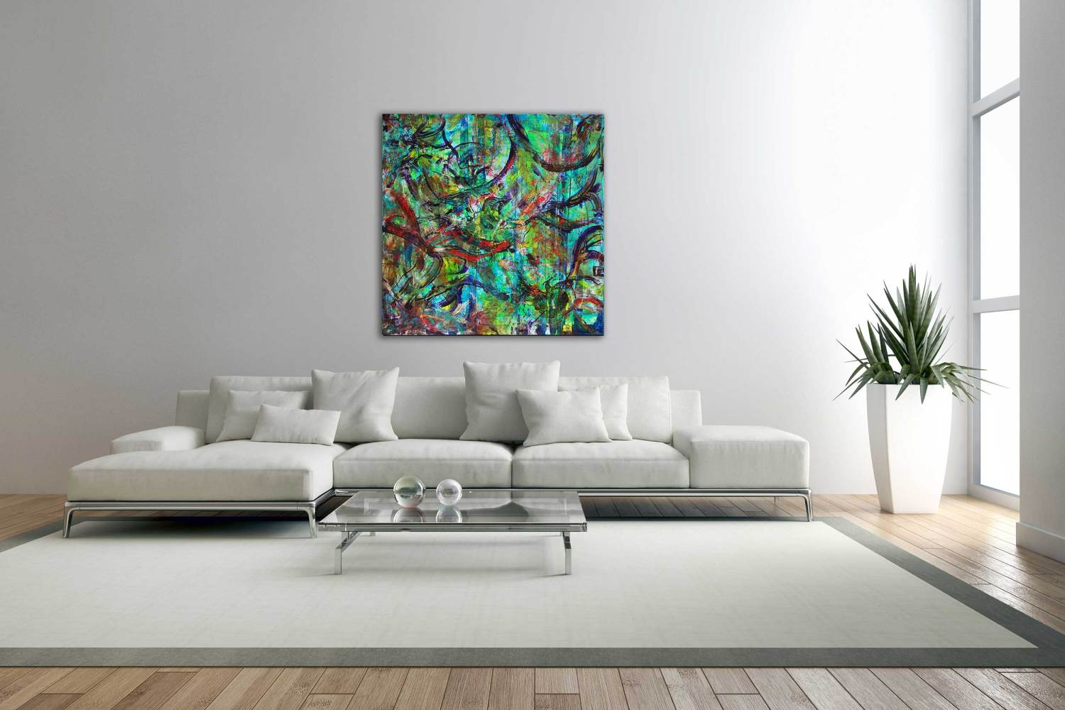 SOLD : Scattered Visions (Visiones dispersas) - LARGE BOLD SQUARE WORK! (2014) Mixed Media painting by Nestor Toro : LA abstract artist