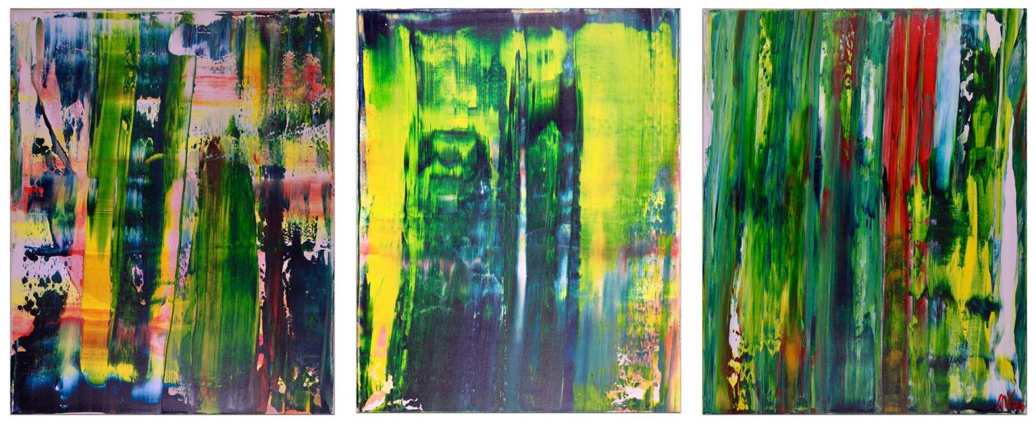 Abstract Painting - Battle of Trees - Triptych (2017) Acrylic painting by Nestor Toro in Los Angeles