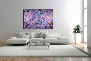 SOLD - Iridescent Purple (Echoes) - HUGE STATEMENT WORK READY TO HANG! (2016) Acrylic painting by Nestor Toro in L.A.