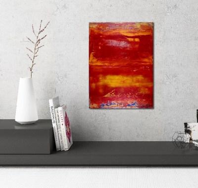 Red Horizon (2017) 16 x 12 inches - Acrylic painting by Nestor Toro