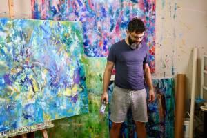 Artist Nestor Toro in his West Hollywood studio space