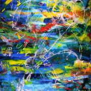 """SOLD - Abstract painting by Nestor Toro titled """"Copper Flower"""" - SOLD"""