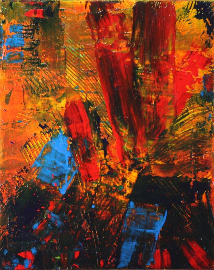 SOLD - Distraction from Fire (2014) Acrylic painting by Nestor Toro