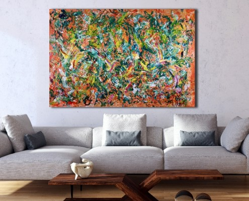 Sold Abstract - Orange Blossoms (2018) Acrylic painting by Nestor Toro