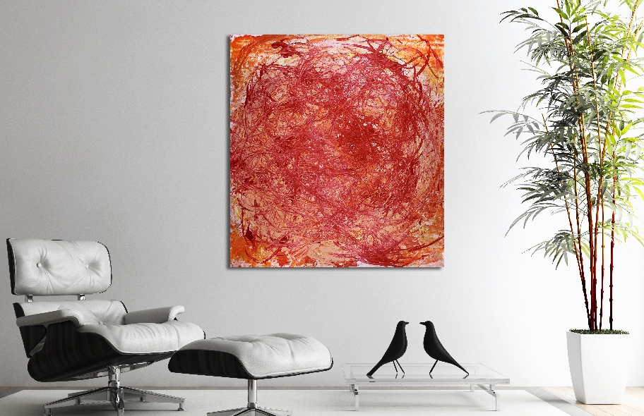 Vortex in Orange (2018) Acrylic painting by Nestor Toro