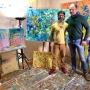 Collector visiting my studio in Los Angeles April 2018
