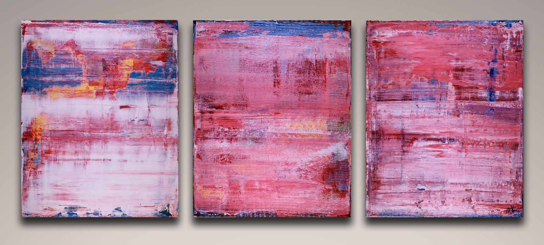 SOLD - Pretty in Pink - Triptych by Nestor Toro / Los Angeles