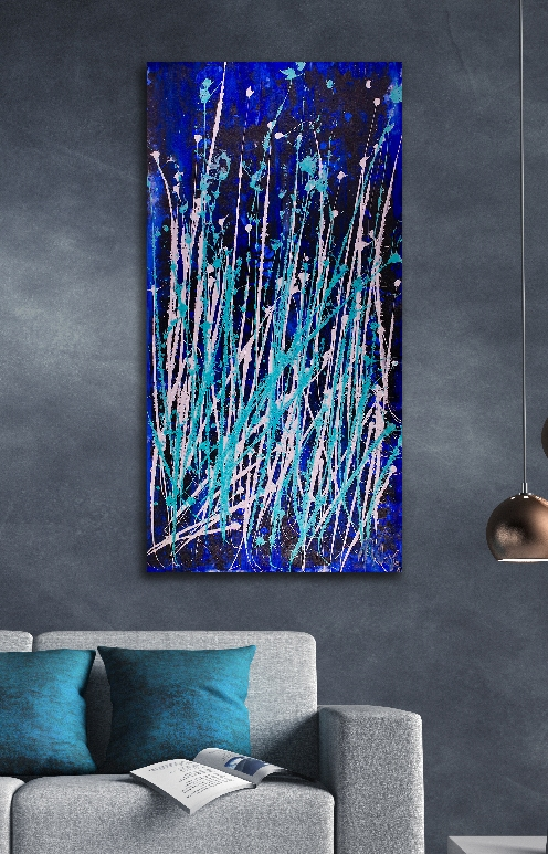 Drizzles in dark space (2018) abstract art Acrylic painting by Nestor Toro