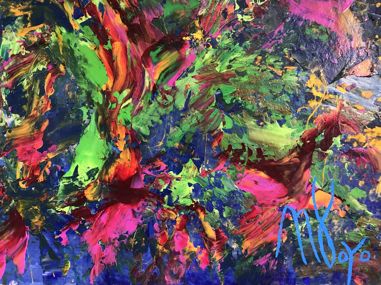 A garden high above (2018) ABSTRACT ART Acrylic painting by Nestor Toro
