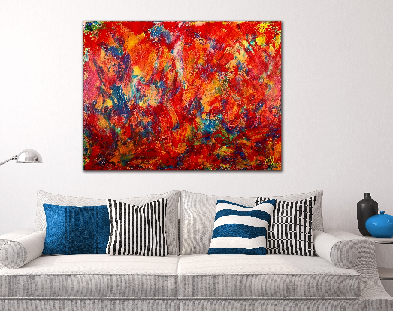 Red Abstract - BOLD STATEMENT ARTWORK! (2016) abstract art Acrylic painting by Nestor Toro