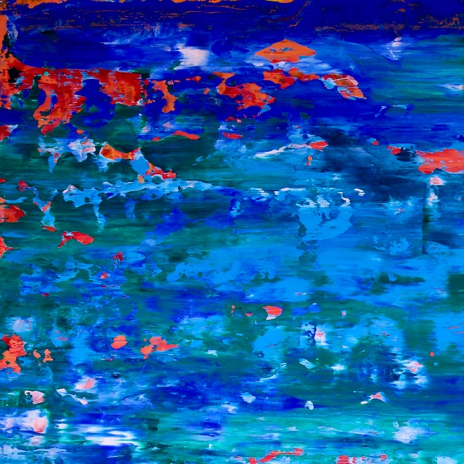 With orange lights (2018) Abstract Acrylic painting by Nestor Toro