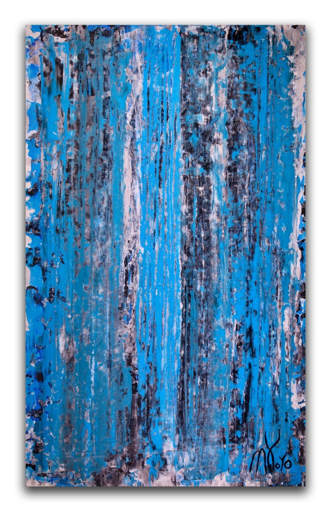 Shower the world with blue (2018) Expressionistic Acrylic painting by Nestor Toro