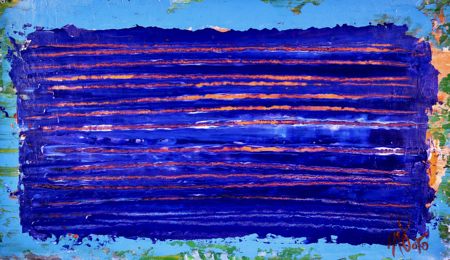 Full Image / Under blue night light (2018) Abstract Acrylic painting by Nestor Toro