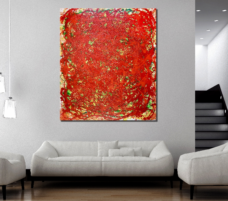 Coming From The Red- Bold Lux Statement Piece (2018) abstract expressionist Acrylic painting by Nestor Toro