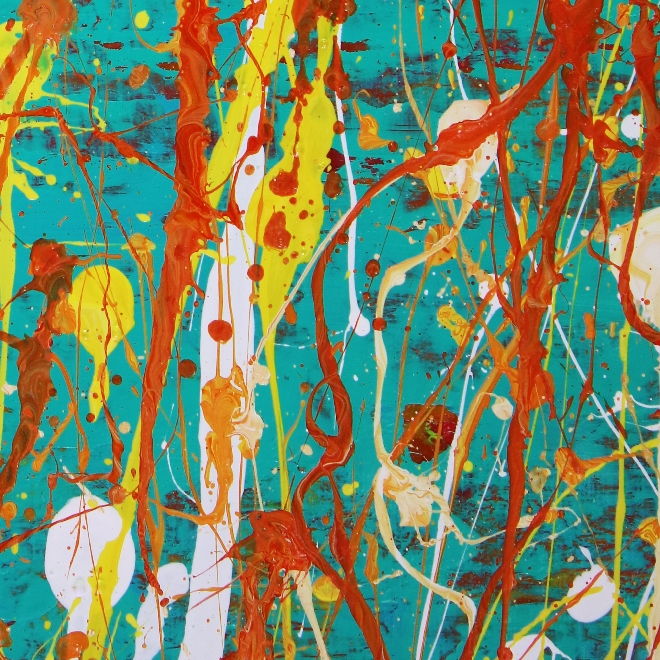 Detail of SOLD painitng - Drizzles frenzy over aqua green (2018) Abstract Acrylic painting by Nestor Toro
