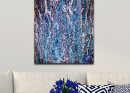 SOLD - Sudden Azure Storm - (2018) Abstract Acrylic painting by Nestor Toro