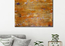 SOLD - ROOM View / Golden shadows over purple (2018) Abstract Acrylic painting by Nestor Toro