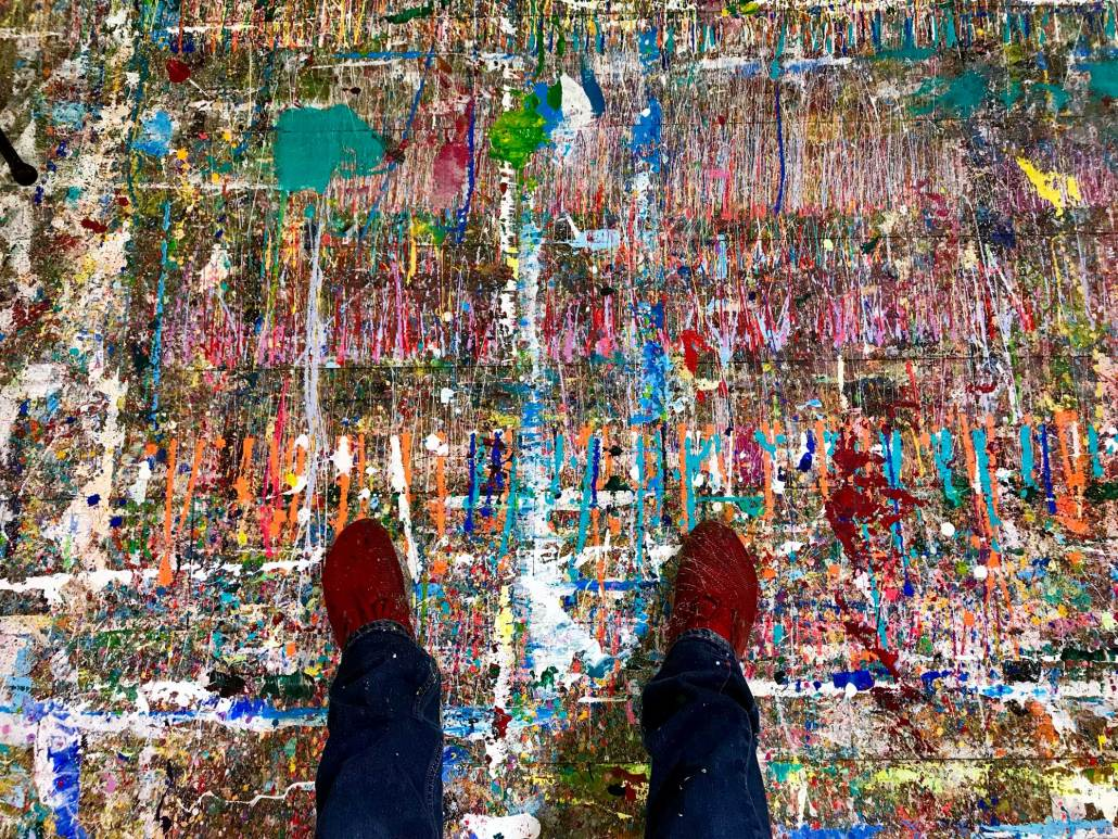Shot of Nestor Toro's studio floor and his shoes in West Hollywood California 2019