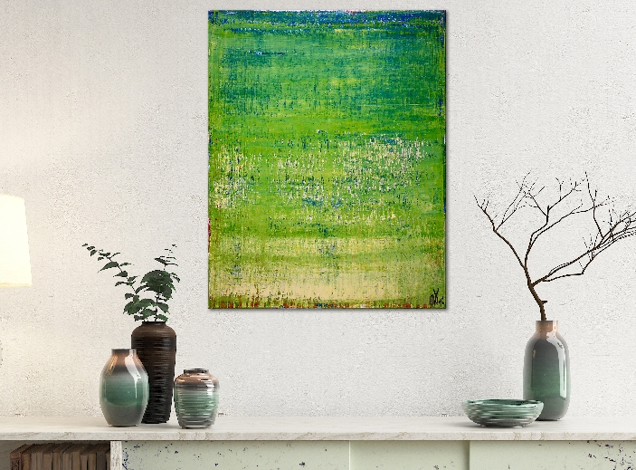 Green valley spectra 2 (2019) Abstract Acrylic painting by Nestor Toro