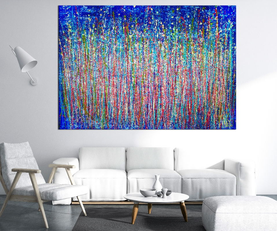 Room View - A closer look (Shimmering paradise) by Nestor Toro (2019) Abstract Acrylic painting by Nestor Toro