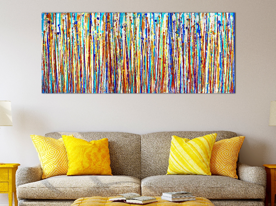 SOLD - Interrupted Panorama 7 / Canvas 1 / (2019) Triptych by Nestor Toro