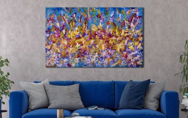 SOLD - Only Fantasies - room view - Abstract art by Nestor Toro