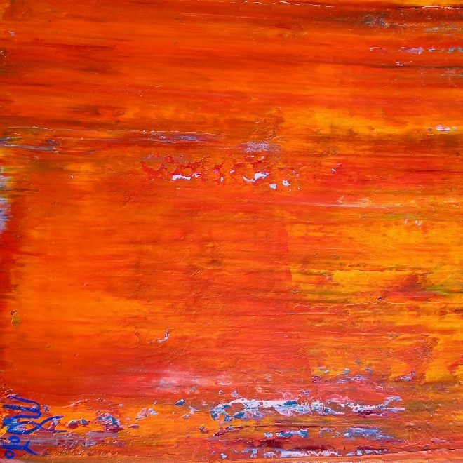 SOLD ABSTRACT - Painting Detail - Sunset Paradise (Orange Spectra) by Nestor Toro