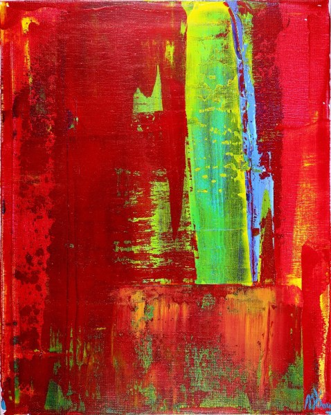 SOLD - Greener Grass (Red Skies) by Los Angeles painter Nestor Toro