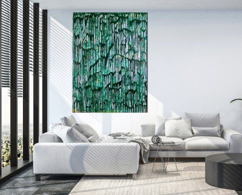Room View - Green Gravity by Nestor Toro in Los Angeles - SOLD