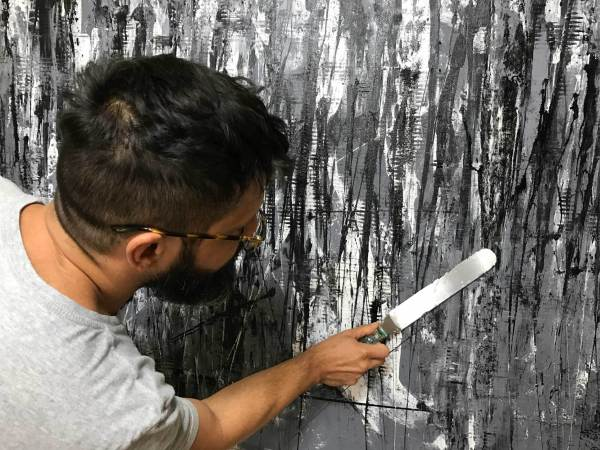 """Los Angeles abstract artist working on a recently SOLD original abstract painting called """"December"""""""