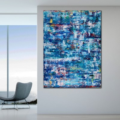 Azul infinito No. 3 by Nestor Toro (2019) Abstract Acrylic painting by Nestor Toro