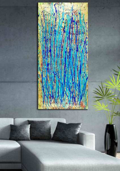 Room View - Impulsive Spectra - Abstract expressionism garden by Nestor Toro