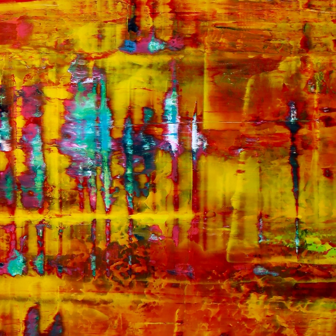 Detail - Yellow Fusion 2 - acrylic painting by Nestor Toro