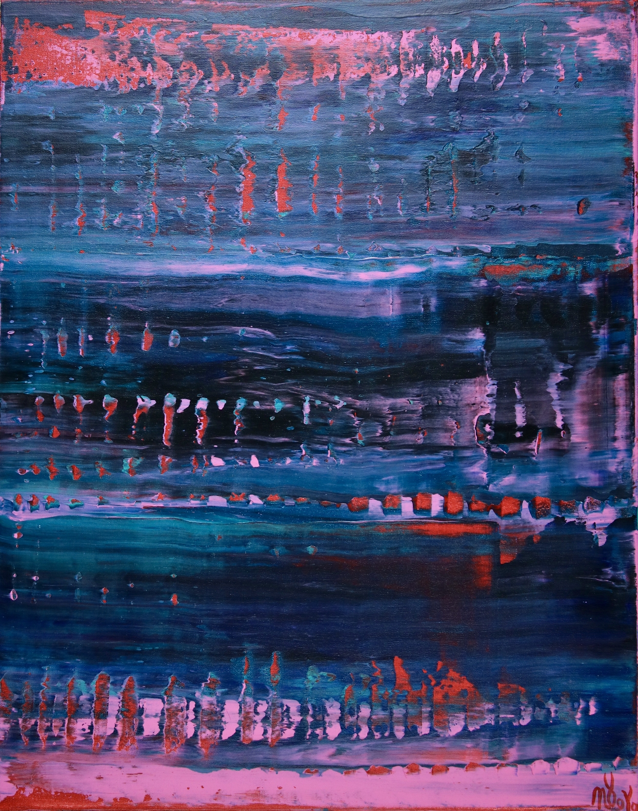 Blue with Red intrusions by Nestor Toro 22x28 - 2019 (Ready To Hang)