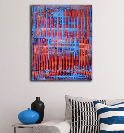 Room View - Orange and blue with light by Nestor Toro - Los Angeles