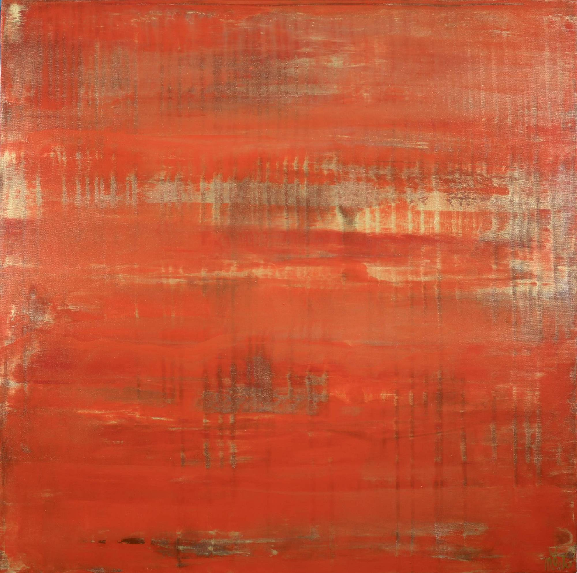SOLD - Sunset paradise 3 (Metallic Orange Spectra) Painting by Nestor Toro