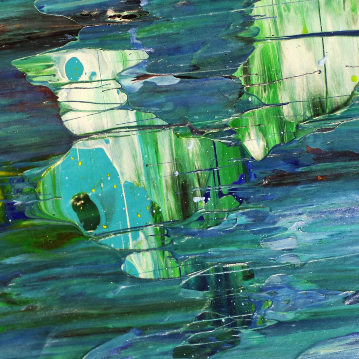 SOLD - Detail - Blue satin waves 2 by Nestor Toro - 2020