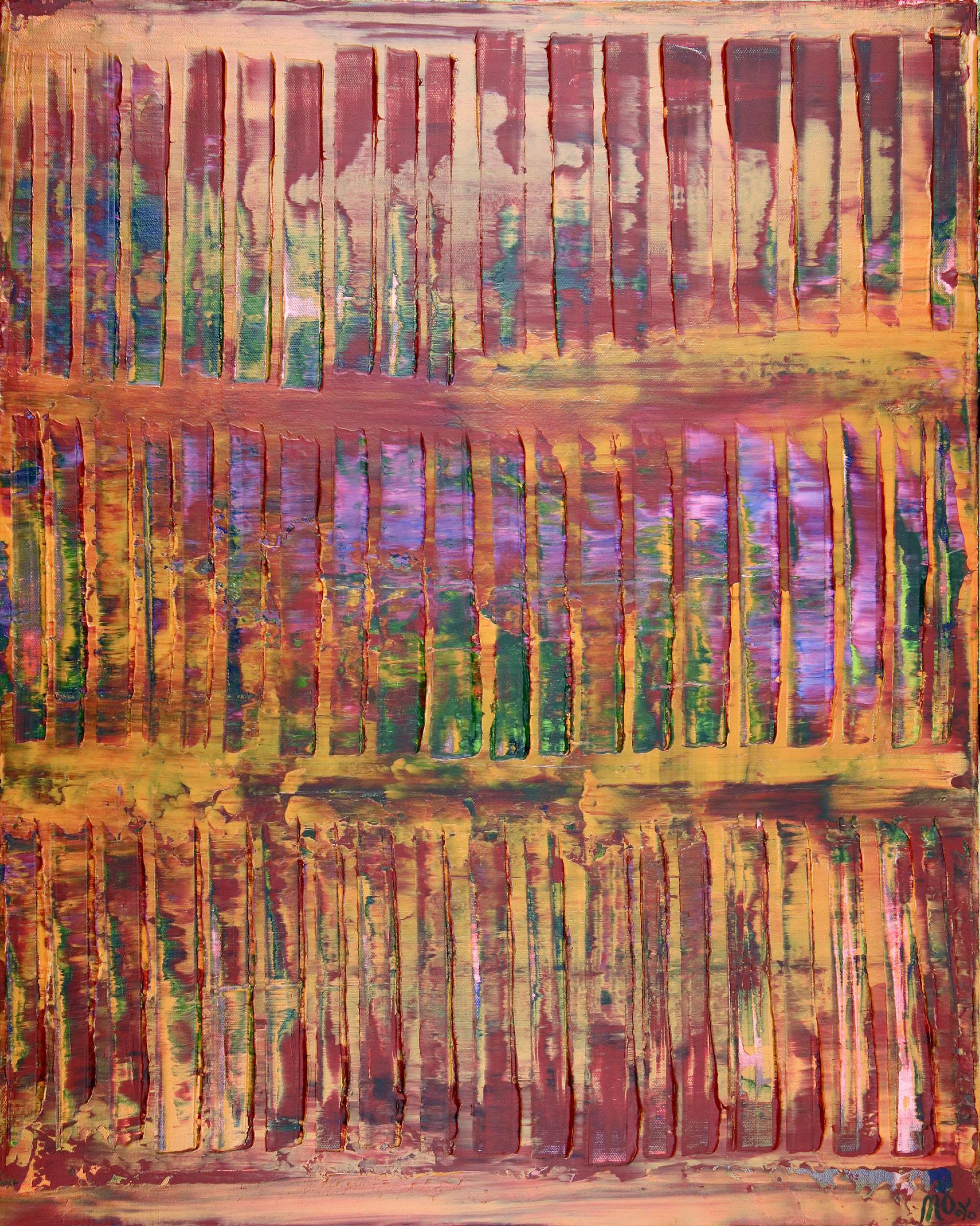 Full Canvas - Sunset intrusions (Orange Sky) 2 (2020) Abstract Acrylic painting by Nestor Toro