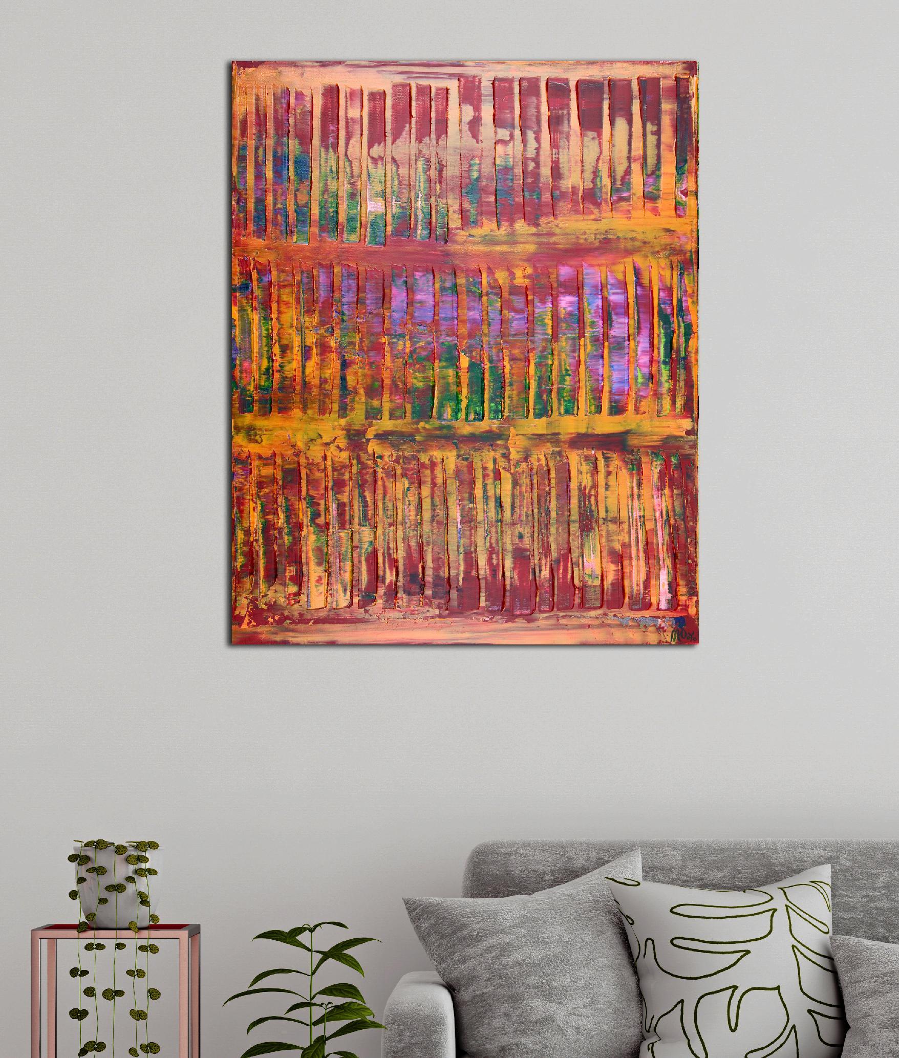 Sunset intrusions (Orange Sky) 2 (2020) Abstract Acrylic painting by Nestor Toro